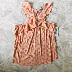 NWT collective concepts halter ruffle floral shirt